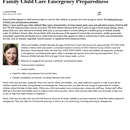 Family Child Care Emergency Preparedness