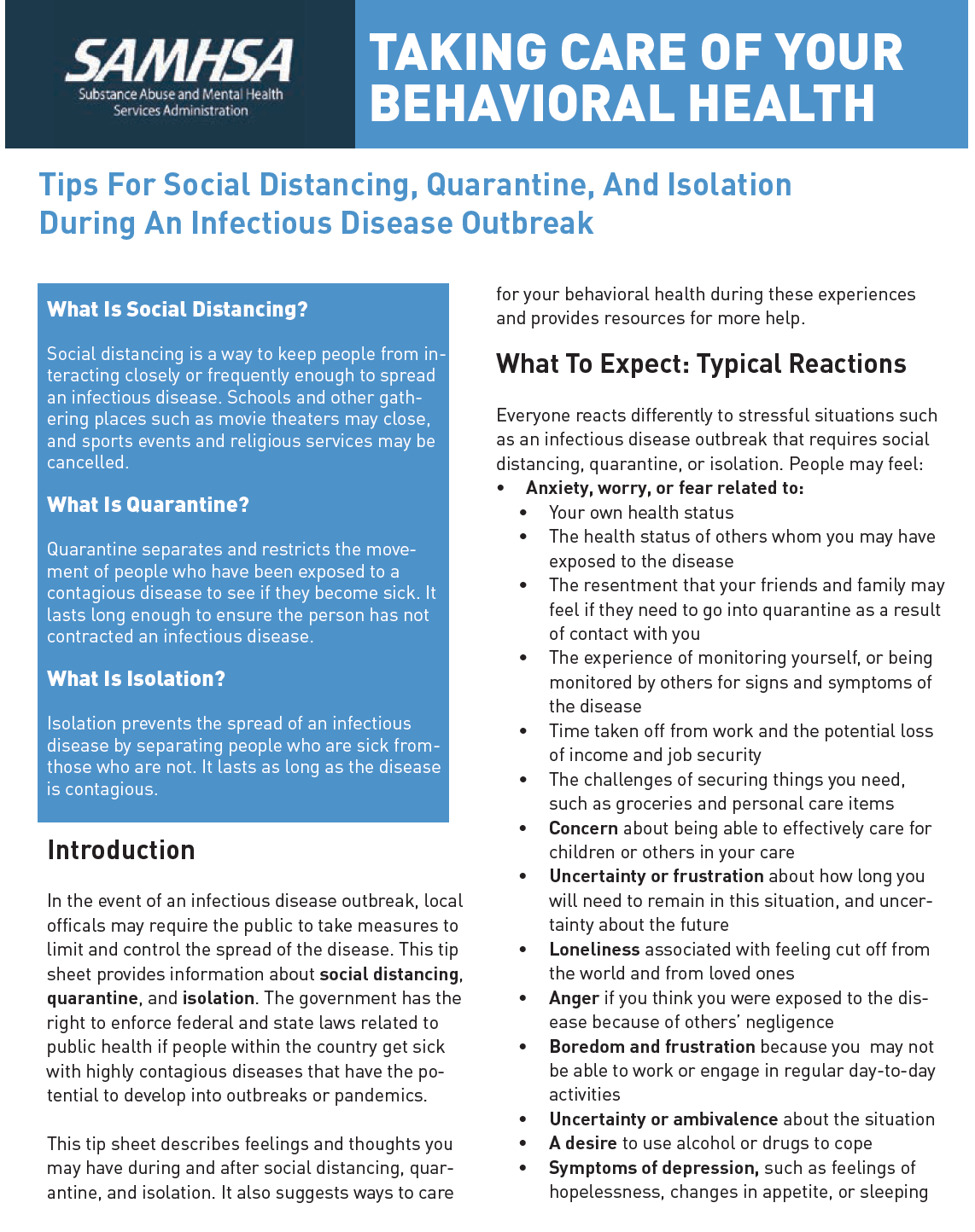 SAMHSA: Taking Care of Your Behavioral Health: Tips for Social Distancing, Quarantine and Isolation