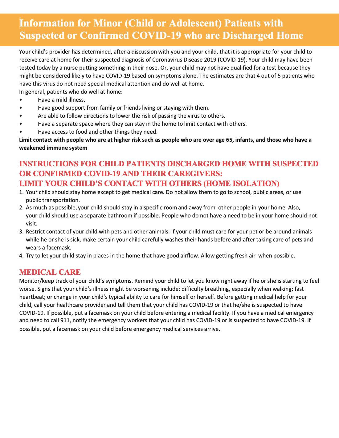 RBC Medical Exit Instructions