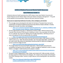 COVID-19 Medical Personnel Mental Health Resources: Quick Reference Guide V.1
