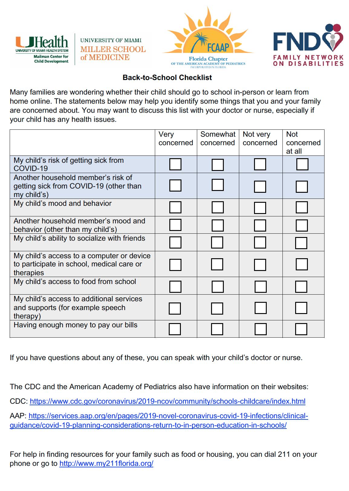 Back to School Checklist 2020